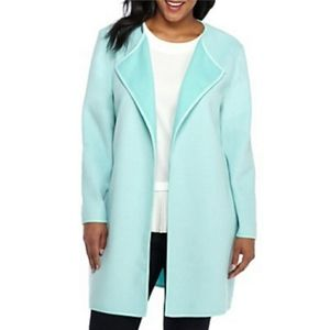 THE LIMITED Aruba Blue Open Drape Wool Jacket